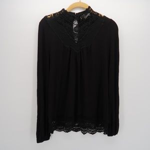 Love, Fire Black Embroidered Long Sleeve Top